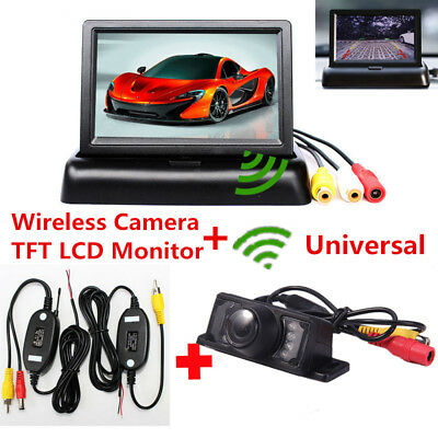 "Wireless Car Rear View Reverse Backup Camera + 4.3"" HD TFT LCD Foldable Monitor"