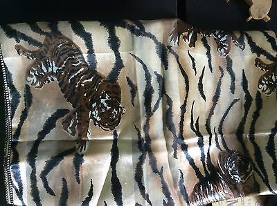 AFRICAN SCARF Tiger pattern; light weight 30 inch x 13 inch