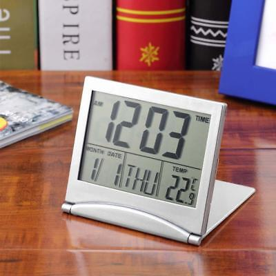 LCD Digital Folding Desk Travel Alarm Clock With Thermometer Date Calendar Timer