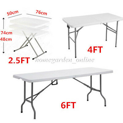6FT 4FT 2.5FT Heavy Duty Folding Table Camping Trestle Picnic BBQ Plastic Tables