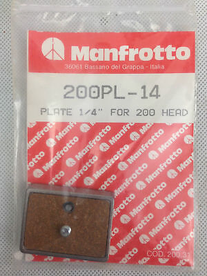 """Genuine Manfrotto 200PL-14 Plate 1/4"""" For 200 Head New Metal/Cork Italy Vintage"""