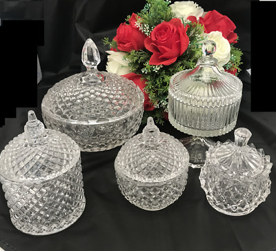 5 Set Candy Lolly Buffet Glass Assort Size Wedding Event  Party Jars Bowls  Gift