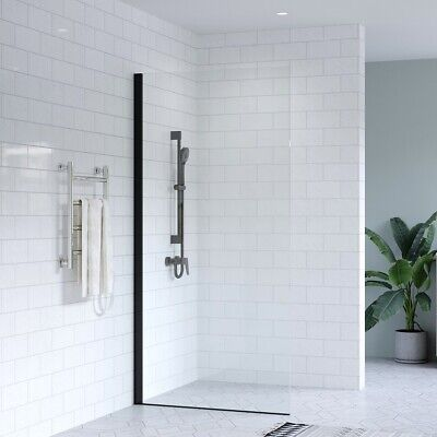 1100mm Black Walk In Shower Screen Fixed Panel NANO Easy Clean Toughened Glass