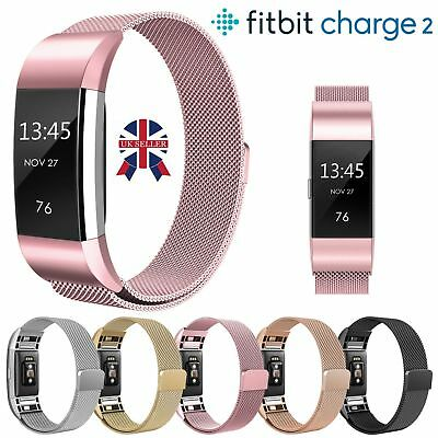 Magnetic Milanese Loop Stainless Steel Watch Band Strap For Fitbit charge 2 UK