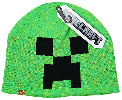 Boys Teens Official Mojang Minecraft Creeper Face Knit Beanie Hat Retro One Size