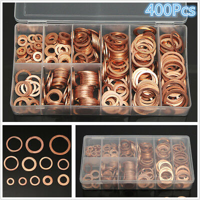 400Pcs 9Size Assorted Solid Copper Crush Washers Seal Flat Ring Oil Seal Gaskets