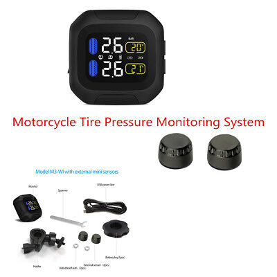 Motorcycle TPMS LCD Display Wireless Tire Pressure Monitoring System USB Powered