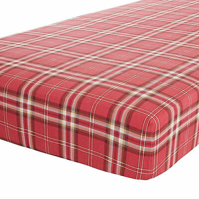 Canterbury, Red Check Double Fitted Sheet - 100% Brushed Cotton