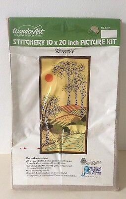 "Wonderart Vintage Stitchery Embroidery Kit 10"" x 20"" Picture Kit Riverside US"