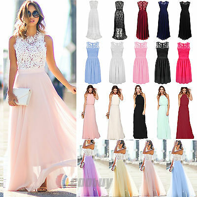 Womens Long Chiffon Dress Lace Evening Party Ball Gown Prom Bridesmaid Sundress