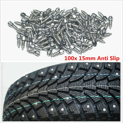 100x Auto Car Tyre Tire Stud Screws Anti-slip 15mm Carbide tips with Steel Body