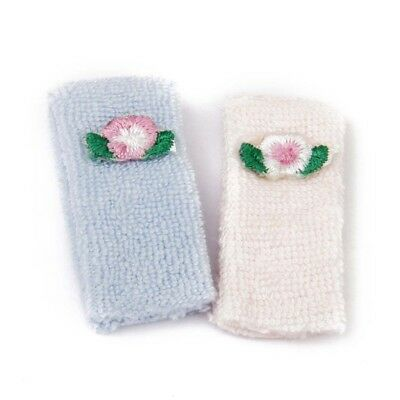 1/12 Bath towel Doll house Miniature Towels 2 Pieces Pink and Blue SS