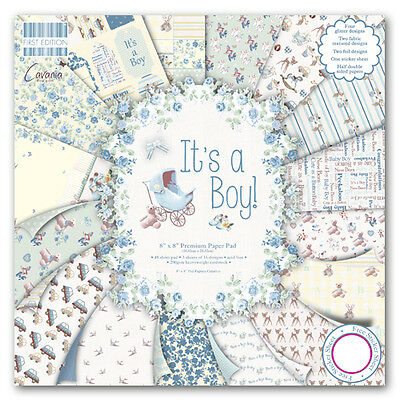 First Edition ITS A BOY 6x6 Full Paper Pad 64 shts - incl glitter accents