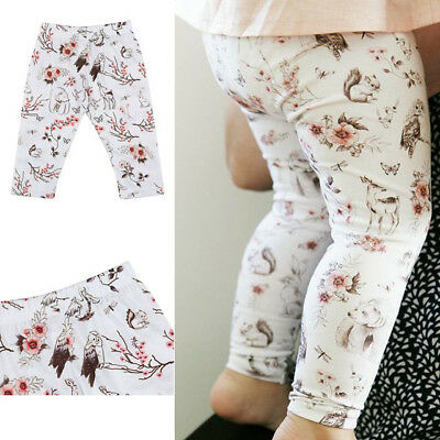 UK Stock Baby Infant  Girls Floral Trousers Leggings Pants Tights Outfits