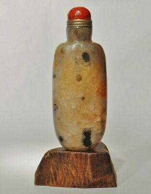 Old Chinese Agate Snuff Bottle with Dark Dots