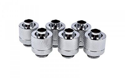 "Alphacool Eiszapfen 16/10mm 3/8""-5/8 Compression Fitting G1/4 - Chrome Six Pack"