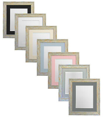 Distressed Industrial Light Brown Wash Picture Photo Frame with Coloured Mounts