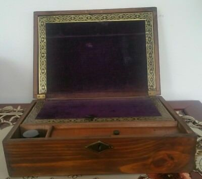 Antique  Writing Sloped Lap Desk Box  Lined With Felt And With Ink Bottle