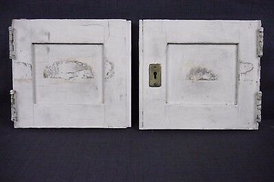 Antique Vintage Cabinet Doors Pair Painted Birch with Hardware Early 1900's (B3)