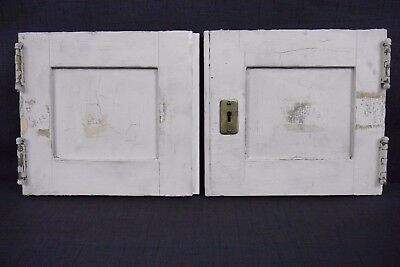 Antique Vintage Cabinet Doors Pair Painted Birch with Hardware Early 1900's (B4)