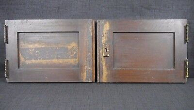 Antique Vintage Cabinet Doors Pair Oak with Hardware Early 1900's