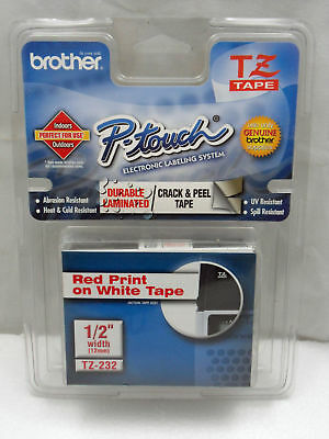 """NEW Brother TZ-232 1/2"""" Red on White P-touch Tape 12mm TZe232 TZ232 Free Ship"""