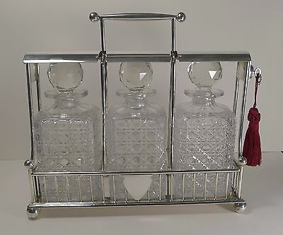 Antique English Three Bottle Tantalus by Atkin Brothers c.1890