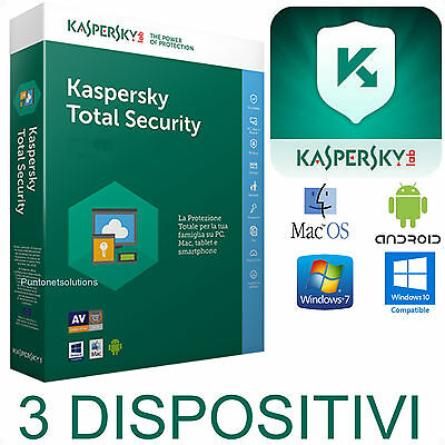 Kaspersky Total Security Multidevice 2018 X3 Dispositivi -PC- MAC-Android 1ANNO