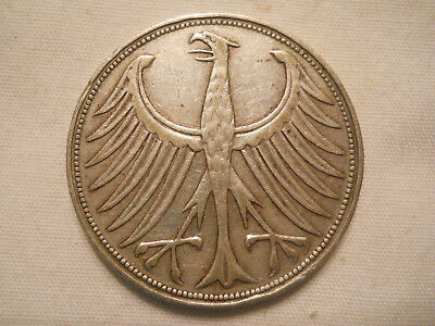 Germany - Federal Republic 5 Mark, 1951 F Stuttgart Mint silver coin