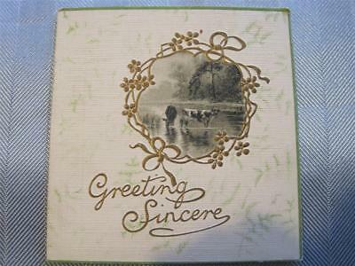 NEW YEAR Greeting Card Very Old Cows in Water B & W Picture NM