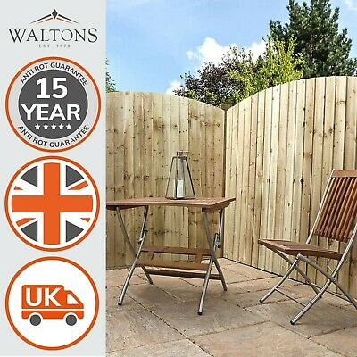 Wooden Vertical Feather Edge Pressure Treated Fence Curved Panel FSC Timber 6ft