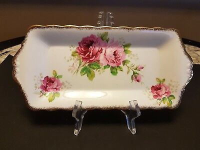 "Vintage Royal Albert ""american Beauty Rectangular Sandwich Snack Tray 10 3/4"
