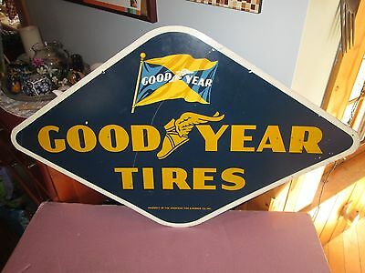 Early Original Goodyear Double Sided Metal Sign