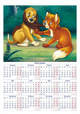 The Fox and the Hound - 2018 A2 POSTER CALENDAR ***LATEST BUY 1 GET 1 FREE***