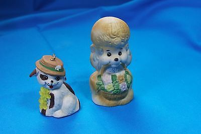 2pcs Vintage Bell Lot Dogs Brown Spotted and Poodle Jasco