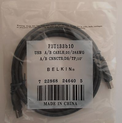 BRAND NEW F3U133B10 Belkin 3m USB 2.0 Device Cable (A/B)