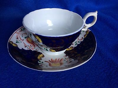 19th Century Gaudy Welsh pottery tulip pattern cup & saucer
