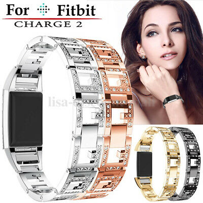2017 Fashion Stainless Steel Strap Metal Crystal Watchband For Fitbit charge 2