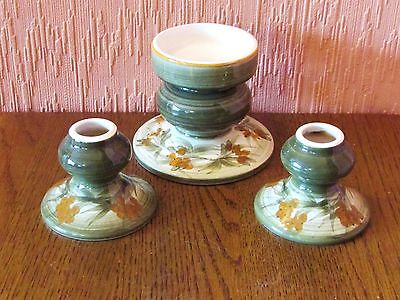 Three Matching Hand-painted Candlesticks by Jersey Pottery.