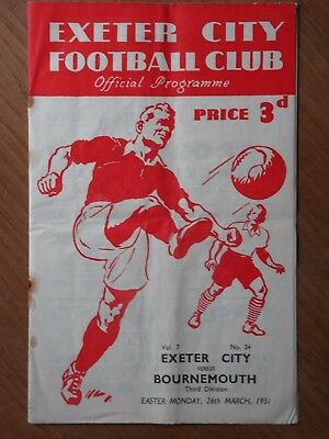 EXETER CITY v BOURNEMOUTH 1950-1951 Third Division football programme