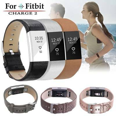 Real Leather Luxury Wristband Replacement Band Strap for Fitbit Charge 2 UK
