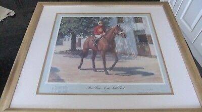 Framed Red Rum 'In The Stable Yard'  print signed by Brian Fletcher Jockey