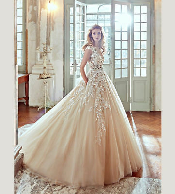 New White Ivory Bridal Ball Gown Wedding Dress Size: 2 4 6 8 10 12 14-16-18-20