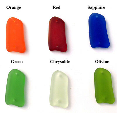 28x23mm Amoeba Free Form Sea Glass Frosted 2 Hole Link • Q6 • You Pick Color