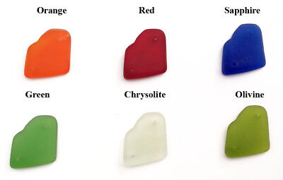 31x22mm Amoeba Free Form Sea Glass Frosted 2 Hole Link • Q6 • You Pick Color