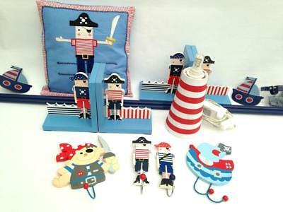 Pirates Accessories Set Gisela Graham Book Ends Hooks Cushion Curtain Pole Lamp