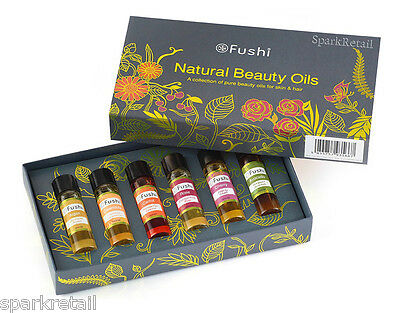 Fushi NATURAL BEAUTY OILS 6 x 10ml Argan/Calendula/Carrot/Rose/Cherry/Avocado