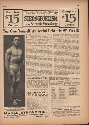 1924 Strongfortism Lionel Strongfort Fitness Weight Ad 14249