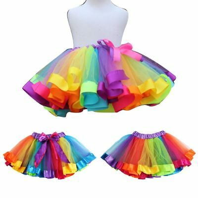 Kids Baby Girls Rainbow Princess Party Ballet Dance Tulle Tutu Skirt Dresses Fas