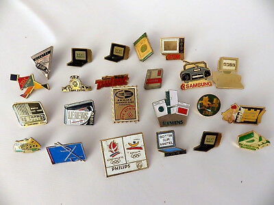 Lot Pin's vintage SAMSUNG SONY TV HIFI MINITEL publicitaire 23 pins + attaches